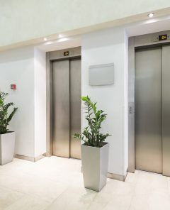 Three elevators in hotel lobby