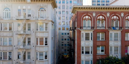 Old buildings in downtown San Francisco California on Nob Hill.
